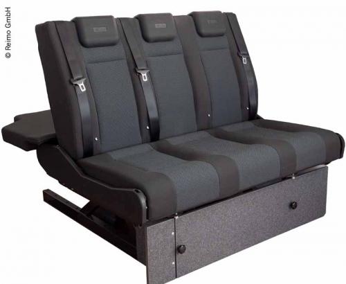 Купить онлайн Спальная скамейка VW T6.1, V3100 Gr.8 жестких 3-х местных столбов. Двойная сетка 2 цвета слева.