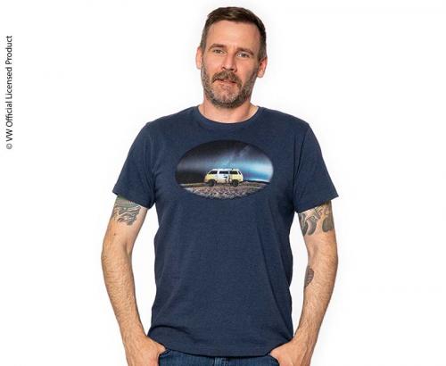 Купить онлайн Мужская футболка, цвет темно-синий меланж